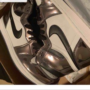 New Air 1 Jordans Metallic Gray Basketball Shoes